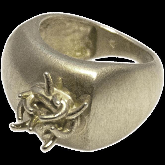 Pierścień srebrny Biomorphic